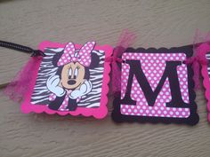 Minnie Mouse NAME Banner in Zebra and Pink polka by CriCriDecor