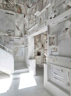 roomonfiredesign:  The off-white interiors of Alfonso Cadena's new restaurant 'Hueso' (Spanish for 'Bone') are covered with over 10,000 collected bones mounted on timber plaques. 'Hueso' is set within iconic Mexican architect LuisBarragán's1940smodernist buildingin the Lafayette Design District in Guadalajara, Jalisco, Mexico