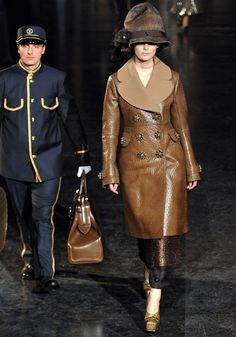 Louis Vuitton Fall 2012 leather coat with oversized lapel