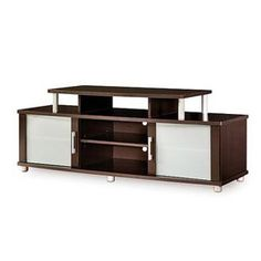 This Modern Espresso TV Stand is for TVs up to 50 inches, has curved shapes, metal accents and frosted glass. This is a popular and unique TV stand for your living room or den. Price includes the cost of shipping within the continental United States.  Dimensions: •60.0 x 20.0 x 23.0  •Weight: 106lbs. Buy it now! - http://kindachic.com/home-essentials-shop/#!/~/product/category=1960185=10451385