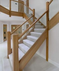 Contemporary wood with glass banister. Integra Glass from James Grace Wood Railings For Stairs, Staircase Railings, Staircase Design, Oak Stairs, Banisters, Glass Bannister, Glass Stairs, Bannister Ideas, Cottage Staircase
