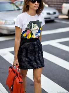 graphic tee with skirt