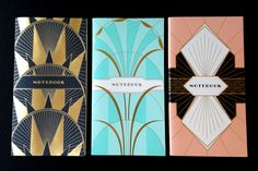 art deco notebooks - possibly invitation inspiration. Gold foil