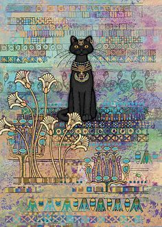 Egyptian Cat Card by Bug Art. Artist Jane Crowther has produced this amazing design with beautiful deep colours metallic embossing and a perfect black cat . We have countless beautiful greeting cards for cat lovers. I Love Cats, Crazy Cats, Cool Cats, Art Carte, Black Cat Art, Black Cats, Egyptian Cats, Bug Art, Gatos Cats