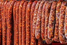 Various types of romanian sausages carnati , smoked and dried, exposed for sale Shall specify for the month of December Hungarian Sausage Recipe, Hungarian Recipes, Cookbook Recipes, Cooking Recipes, Halloumi Burger, Chorizo, Romania Food, Homemade Sausage Recipes, Good Food