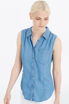 This Sleeveless Chambray Shirt (Petite & Regular) works best for hourglass and inverted triangle body shapes. Click through to find out why. Purchases made through Styletruist helps women in need!