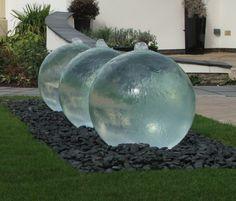 Triple Glass Sphere Garden Water Feature