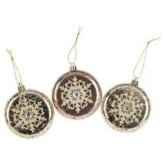 Buy Gold Floral Discs Christmas Tree Decorations, 3 pack from our All Christmas range - Tesco