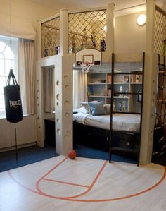 This room could work into the high school age for a boy, right? 40 Cool Boys Room Ideas - Style Estate - << just boys? I'd take that room in a heart beat! Dream Rooms, Dream Bedroom, Cool Boys Room, Nice Boys, Room Kids, Cool Beds For Boys, Bunk Beds For Boys Room, Cool Bedrooms For Boys, Boy Bunk Beds