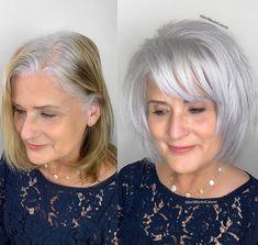 Layered Haircuts For Medium Hair, Thin Hair Haircuts, White Hair Highlights, Short White Hair, Grey Hair Transformation, Grey Hair Don't Care, Hair Cutting Techniques, Gray Hair Growing Out, Transition To Gray Hair