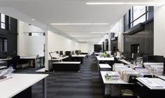 Furniture: Inspiring Modern Office Furniture In White Grey And Green Office Decorating Ideas With Long Narrow Rectanguar Office Desk And Small Metal Chairs Also With Unique Ceiling from Modern Office Furniture for Better Work