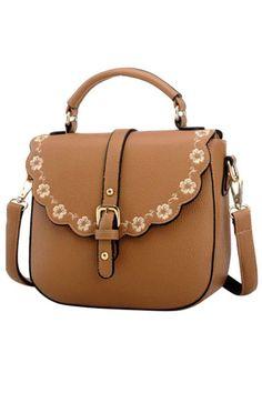 Khaki Floral Trim PU Leather Shoulder Bag