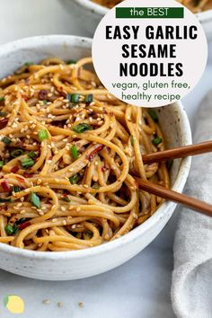 Easy dinners are the best dinners. These garlic sesame noodles are a healthy, vegan and gluten free recipe that takes just 15 minutes to make! It's perfect with some chicken, vegetables, tofu, or just as is. Teriyaki Noodles, Teriyaki Tofu, Thai Noodles, Gluten Free Recipes For Dinner, New Recipes, Healthy Recipes, Pasta Recipes, Vegan Dinners, Easy Dinners