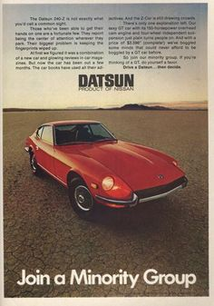 Nissan … … … / actally it was a good car and cool, sporty looking-it just was undervalued Datsun 240z, Datsun Car, Nissan Z Cars, Gt Cars, Car Advertising, Japanese Cars, Sexy Cars, Car Show, Vintage Cars