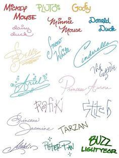 The signatures of Disney characters to copy for postcards sent before we go to WDW.