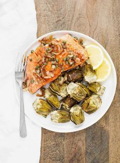 Pan-Seared Salmon with Capers and Baby Artichokes | acalculatedwhisk.com A… paleo diet portions