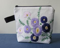 Purple daisy embroidered zip pouch, vintage fabric purse
