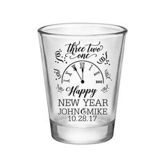 200x Personalized Wedding Shot Glasses New Years Eve Wedding Favors | 1.75 oz | Happy New Year (2A) | 48 Imprint Colors | READ DESCRIPTION