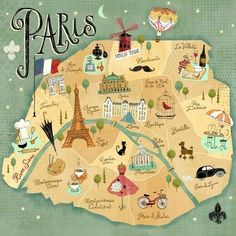 This perfectly #illustratedmap of #Paris was created by Richard Faust. I met Rich once at American Greeting's HQ in Cleveland. Double wonderful.