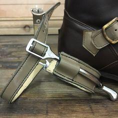 Cafe au lait gloss spur straps and protectors.