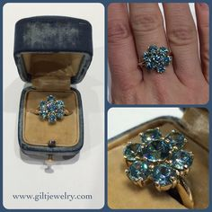 The sparkle of this c1940 natural blue zircon 14k ring is just the blue you need for a winter day. #giltjewelry #vintage #1940 #ringoftheday #zircon #sparkle #dazzling