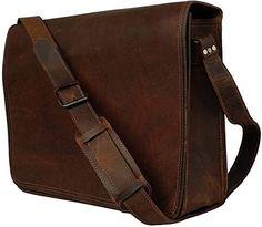 """18/"""" Bag Leather messenger  laptop bag computer case shoulder bag for men /& women"""