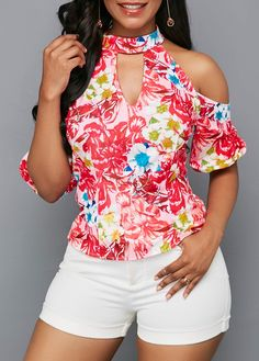 Stylish Tops For Girls, Trendy Tops, Trendy Fashion Tops, Trendy Tops For Women Trendy Tops For Women, Blouse Styles, White Long Sleeve, Printed Blouse, Fashion Outfits, Womens Fashion, Summer Looks, Floral Tops, Clothing Styles