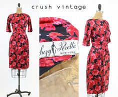 A truly stunning 1950s Suzy Perette Dress! Done in an ultra flattering wiggle shape. Made in a deep black silk featuring bright pink & red cabbage