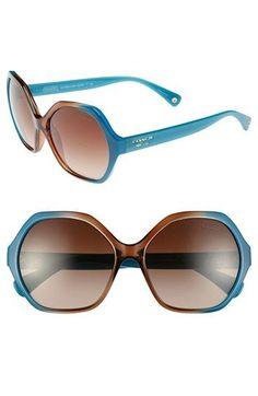 COACH                                                                                                                         Teal & Brown Oversized Hexagonal Sunglasses                                                                                                                        ✺ꂢႷ@ძꏁƧ➃Ḋã̰Ⴤʂ✺