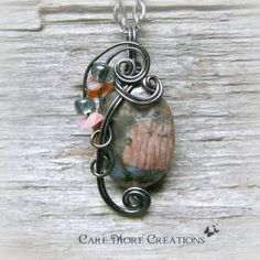 Llanite Wire Wrapped Pendant Necklace in Gunmetal by CareMoreCreations.com, $29.00