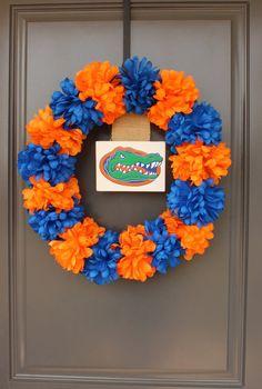Collegiate Team Wreath with Silk Flowers (looks sort of like pom poms)