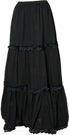 Long black gothic skirt by Sinister Clothing, flowing cut with lace detail.