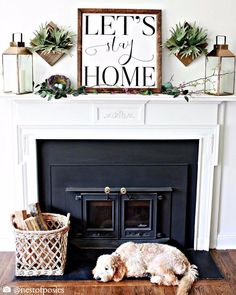 Wood Framed Signboard - Let's Stay Home - Square - 26x26
