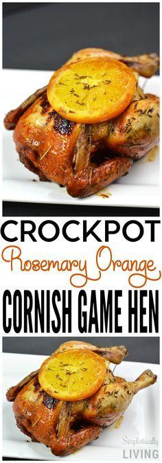 crockpot rosemary orange cornish game hen chicken
