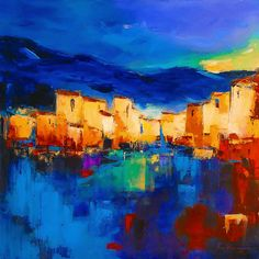 Sunset Over The Village Painting by Elise Palmigiani