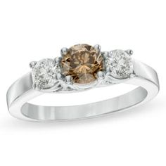 1 CT. T.W. Enhanced Fancy Champagne and White Diamond Three Stone Ring in 14K White Gold