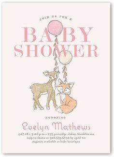 baby shower invitation animal joy girl square corners beige