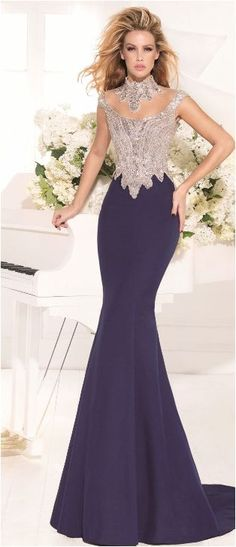 High Neck Crystal Mermaid Dress Pageant Prom Celebrity Evening Formal Party 2015