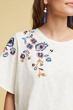 Slide View: Fluttered Thistle T-Shirt, White Embroidery On Clothes, Shirt Embroidery, Embroidered Clothes, Embroidery Fashion, Embroidery Flowers Pattern, Hand Embroidery Designs, Leotard Fashion, Skirt Fashion, Shirt Print Design