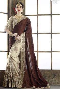 Beige and Brown color family Embroidered Sarees, Party Wear Sarees, Silk Sarees with matching unstitched blouse. Saree Designs Party Wear, Party Wear Sarees, Designer Silk Sarees, Indian Designer Wear, Traditional Fashion, Traditional Outfits, Indian Dresses, Indian Outfits, Moda Indiana