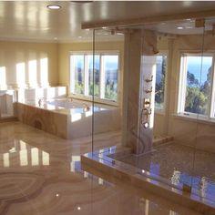 bathroom inspo Next Level Marble Bathroom Via luxclubboutique Das Leben ist kurz . Dream Bathrooms, Dream Rooms, Beautiful Bathrooms, Mansion Bathrooms, Fancy Bathrooms, Mansion Bedroom, Mansion Interior, Dream Home Design, Home Interior Design