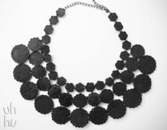 Black bubbles statement perler bead necklace by UHHU