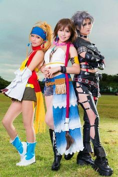 Yuna, Paine, Rikku Cosplay: Final Fantasy ahh so cute Video Game Cosplay, Epic Cosplay, Amazing Cosplay, Cosplay Outfits, Cosplay Girls, Cosplay Costumes, Group Cosplay, Anime Cosplay, Final Fantasy Cosplay