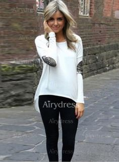 T-shirts - $11.32 - Cotton Solid Round Neck Long Sleeve Casual T-shirts & Vests (1685136857)