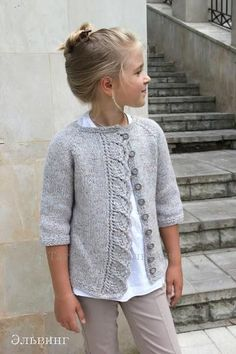 """Knitted cardigan for girls """"Knitted cardigan for girls. Ravelry: Cove Cardigan pattern by Heidi May"""", """"Knitting Archives - Page 2 of 10 - Crafting Today Kids Knitting Patterns, Knitting For Kids, Baby Patterns, Free Knitting, Baby Cardigan Knitting Pattern, Knitting Ideas, Crochet Baby, Knit Crochet, Ravelry Crochet"""