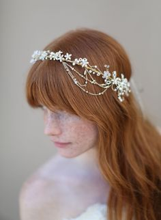 Crystal flower halo with swags - Style # 333 (enamel flowers, halo, headpiece, twigs & honey) | Headpieces | Twigs & Honey ®, LLC