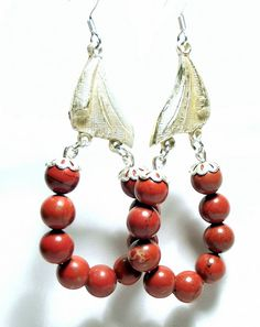 Handcrafted Vintage Costume Jewelry Red Jasper Hoop Earrings #Upcycled by @HoopsandDangles