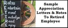 Appreciation Messages : Appreciation Letter To Retired Employee