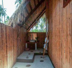 Beachfront Cottage Room - Picture of Qi Palawan, El Nido - Tripadvisor El Nido Palawan, Palawan Island, Indoor Outdoor Bathroom, Outdoor Showers, Bahay Kubo, Island Pictures, Pool Picture, Bamboo House, Tropical Houses