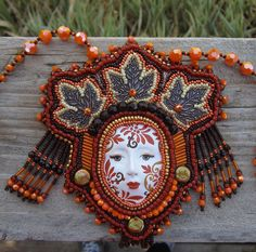 Bead Embroidered Necklace Bead Embroidery Beaded by ArtsyInTheCity
